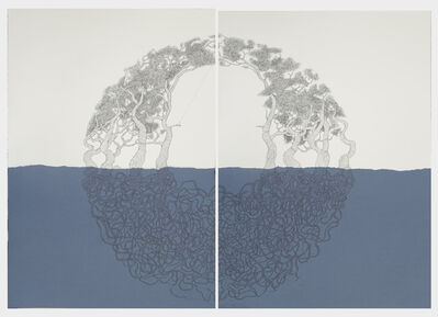 María Ángeles Atauri, ' Chair and tree, blue diptych', 2019