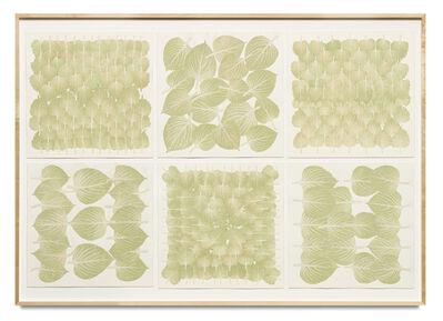 Haegue Yang, 'Edibles Sextet – NTUC Finest, Freshmart Singapore, Perilla Leaves, each 50 g; Meidi-Ya, Unknown, Shiso, each 50 g', 2019