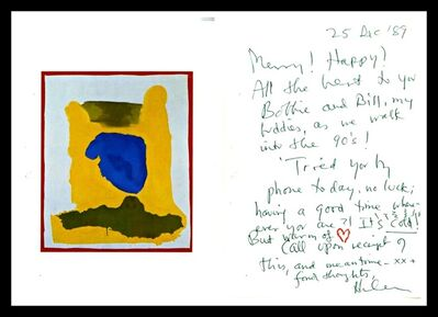 "Helen Frankenthaler, 'Offset lithograph with Handwritten and signed letter  (""Merry! Happy! All the best as we walk into the '90s)', 1989"
