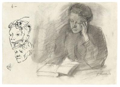 August Macke, 'Ottilie Macke, am Tisch mit aufgestützter Wange lesend', 1906