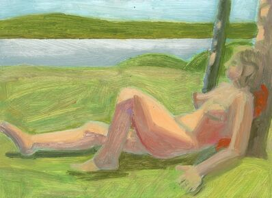 Lois Dodd, 'Reclining Nude Leaning on Tree', 2018