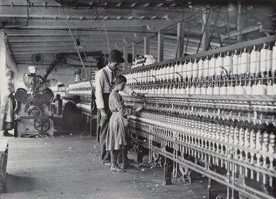 Lewis Wickes Hine, 'The Superintendent and One of the Spinners, Catawba Cotton Mills, Newton, North Carolina', 1908