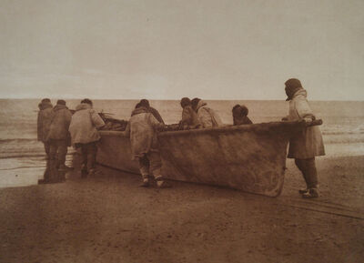 Edward Sheriff Curtis, 'Launching the Whaleboat - Cape Prince of Wales, pl. 707', 1928