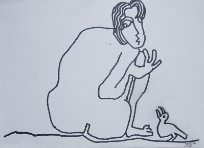 "Prokash Karmakar, 'Man sitting with a Bird, Nude Drawing, Ink on paper, Black & White by Indian Artist ""In Stock""', 2002"