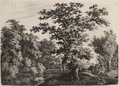 Willem van de Velde the Elder, 'Landscape with an Oaktree alongside a River, a Shepard playing a Flute to the Right', early 1800s