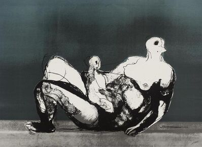 Henry Moore, 'Reclining Mother and Child with Blue Background', 1982