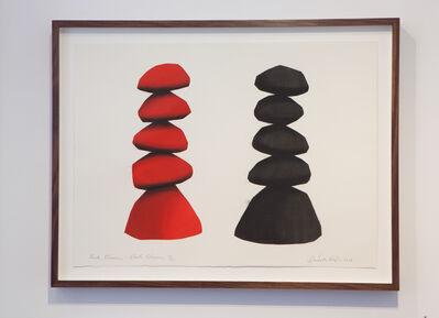 David Nash, 'Red Column, Black Column', 2014