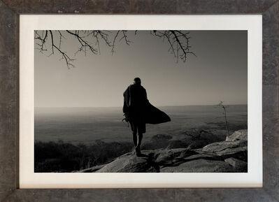 Nicol Ragland, ''HADZABE SKYLINE,'  Figure overlooking Landscape, Black and White Photo by Nicol Ragland', 2015