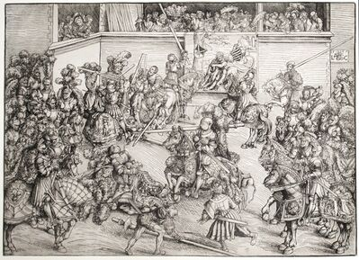 Lucas Cranach the Elder, 'The Second Tournament with the Tapestry of Samson and the Lion', 1508