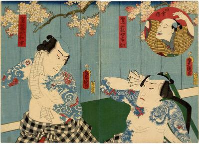 Utagawa Toyokuni III (Utagawa Kunisada), 'Diptych with Tattooed Palanquin Bearers', 1860