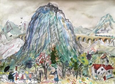 Chris Orr, 'Cezanne Paints Mount St Victoire with train', 2018
