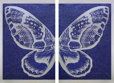 Rubem Robierb, 'Silver Diptych Butterfly on Blue'