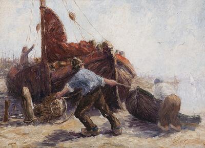 Leonard Gustaaf Imandt, 'Fishermen pulling a boat ashore', First half 20th century