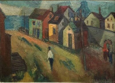 "Samuel David Lev-Landau, 'WPA Period ""Coastal Village"" American Modernist Realism Oil Painting', Mid-20th Century"