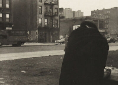 Helen Levitt, 'New York, Man Bent over in Cape', 1912-Printed 1940s