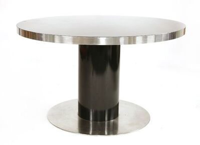 Willy Rizzo, 'A black and chrome circular dining table'