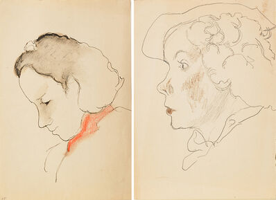 Joseph Stella, 'Two Works of Art: Untitled (Woman Looking Down), Untitled (Profile of a Woman in a Hat)'