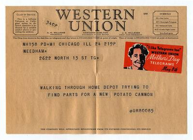 """Charles Gute, '@ur80085 from the series """"Random Tweets Reformatted as Telegrams""""', 2014"""