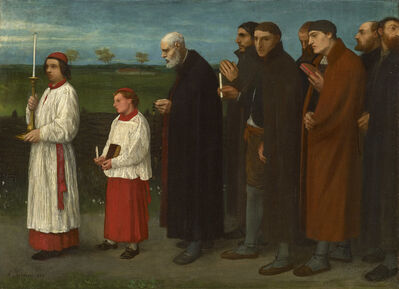 Alphonse Legros, 'The Procession', 1865