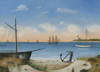 Martha Cahoon, 'Quiet Bay with Boats and Lighthouse in Distance'