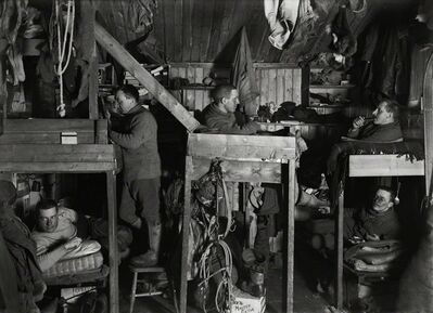 Herbert George Ponting, 'Tenements Bunks in the Hut, Lieutenant Bowers, Apsley Cherry Garrard, Captain Lawrence Oates, Cecil Meares and Dr Edward Atkinson, 9 October', 1911