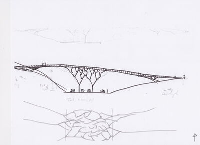 Vito Acconci, 'Sketch for a Bridge in Tasmania III', 2014