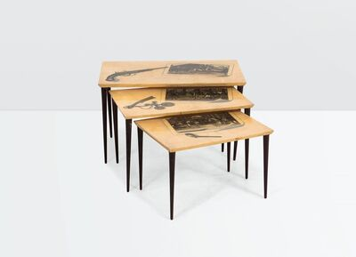 Aldo Tura, 'a set of three wooden tables with parchment tops', ca. 1950