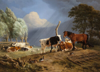 Henriëtte Ronner-Knip, 'Horse and Cattle in a Landscape, a Storm approaching', 1842