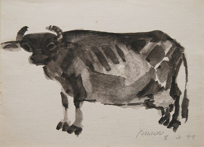 Somnath Hore, 'Indian Cow ,Watercolor & Ink by Somenath Hore; Padma Bhushan Awardee, Cerebral', 1999