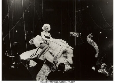 Rae Russel, 'Marilyn Monroe on a Pink Elephant, Opening Night Circus, NYC', 1955