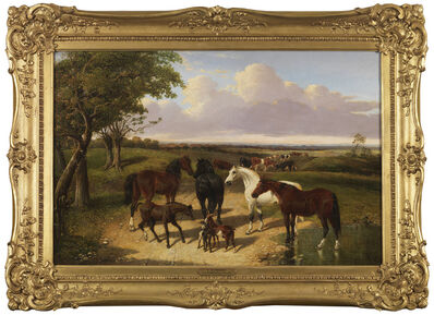 John Frederick Herring Jr., 'Horses, Cattle and Goats in an Extensive Landscape', 19th Century
