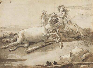 Giovanni Domenico Tiepolo, 'A centaur and a satyress at play'