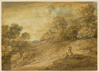 Thomas Gainsborough, 'Wooded Landscape with Figures and Winding Track Leading to a Cottage', mid-to late 1780s