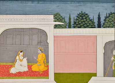 India, Kangra, 'Leaf from a Krishna Sudama Series: Rukmini and Krishna seated in a Palace Chamber', ca. 1800