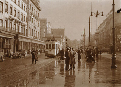 Léonard Misonne, 'Rainy Street with Tram in Brussels, Belgium', 1937