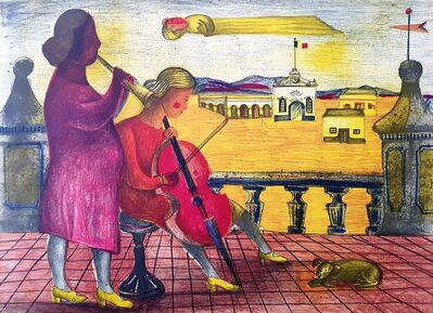 Rodolfo Morales, 'Obra II (Mujer con chelo) [Work II: Woman with Cello]', ca. 1975