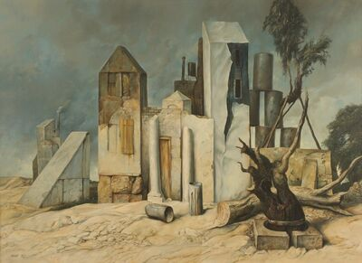 Samuel Bak, 'Houses, 1973, Oil on canvas, 73X100 cm. Signed and dated . Provenance: Aviva Schneider Collection.', 1973