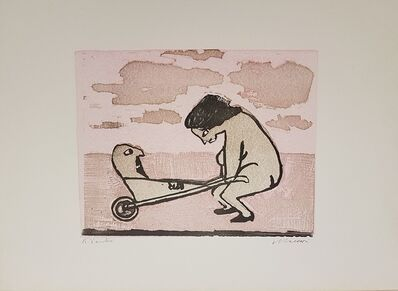 Mino Maccari, 'A Woman playing', 1960s