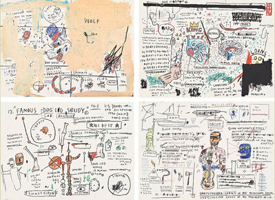 Jean-Michel Basquiat, 'Wolf Sausage, King Brand, Dog Leg Study, Undiscovered Genius (Portfolio of four prints)', 1982-2019