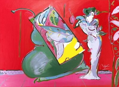 Peter Max, 'LADY ON RED WITH FLOATING VASE', 1988