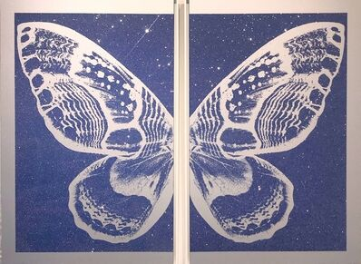 Rubem Robierb, 'Hybrid Diptych Butterfly - Blue on Silver'