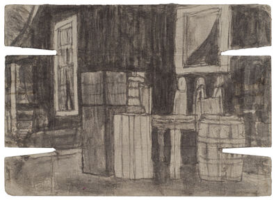 James Castle, 'Untitled (Exterior with crates and barrel; verso: landscape with buildings)', n.d.