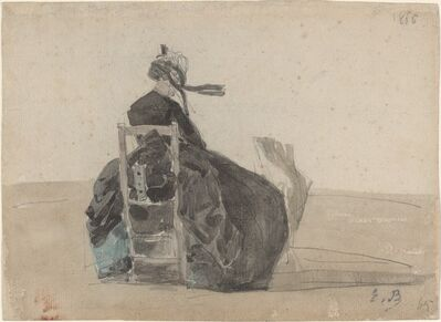 Eugène Boudin, 'Seated Lady in Black, Trouville', 1865