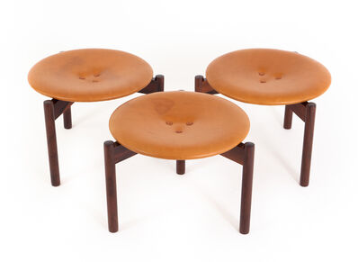 Uno and Osten Kristiansson, 'Uno & Östen Kristiansson Set of Three Rosewood and Leather Stools', ca. 1965