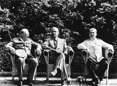 Yevgeny Khaldei, 'Prime Minister Winston Churchill, President Harry Truman, and Premier Josef Stalin at the Potsdam Conferenc', circa 1990