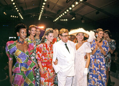 Harry Benson, 'Yves St. Laurent with Kate Moss and Models, Paris', 1993