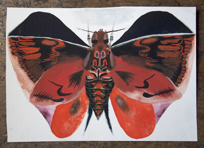 Allison Schulnik, 'Red Loch Bone Moth #6', 201