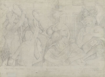 Stanley Spencer, 'Drawing for the Marriage at Cana (Bride reading congratulation letter)', ca. 1933