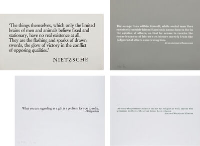 Joseph Kosuth, 'Ex Libris for the The Brooklyn Museum (two plates); [Wittgenstein]; [Goethe]; and [Nietzsche]', 1990; and 1989