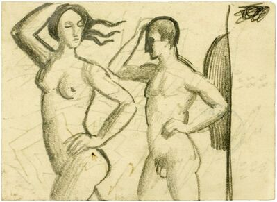 August Macke, 'Frau und Mann, Aktfiguren (Woman and Man, Nude Figures)', 1912